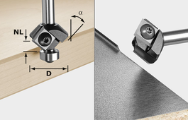 Carbide reversible blade chamfer, Shank 8 mm