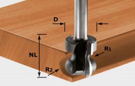 Hand-Rail Cutter, 8mm Shank HW S8 D22/16/R2,5+6