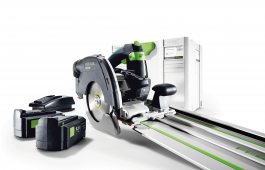 Festool HKC 55 cordless portable circular saw, systainer, 2 batteries, charger and FSK 420 guide rail.