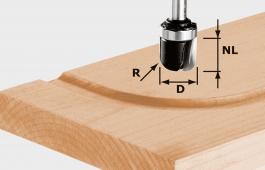 Water Gutter Cutter HW With Ball Bearing Guide, 8mm Shank HW S8 R6,4 KL