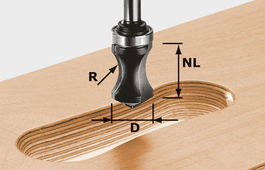 Recessed Grip Cutter, 8mm Shank HW S8 R16/NL32